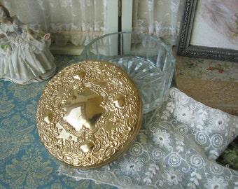 Vintage 1950s Gold Plated Vanity Jar Powder Jar Mirrored Lid Towel Silver Co.