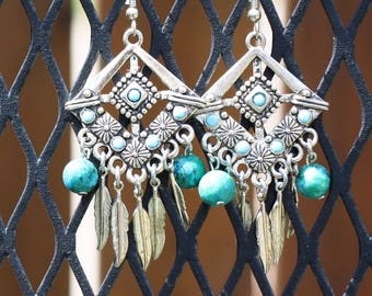 Silver earrings with Turquoise stones and Jasper beads