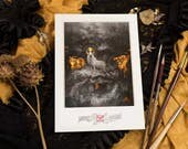 """Fine Art Giclee Print A4 of """"Forgotten Gods"""", signed by stamping - Protected by a thick black board and packaged in transparent blister."""