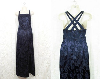 Vtg 90s Navy Blue Silky Brocade Strappy Criss Cross Maxi Dress by CDC sz 9
