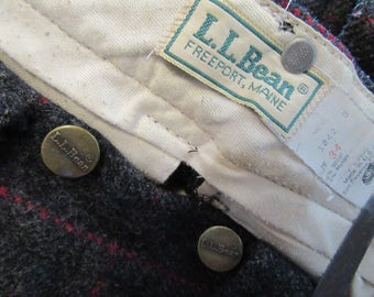 Made in USA!! Vintage L.L. Bean Maine Guide Wool Pantshunting fishing cross country ski lumberjack trousers windowpane plaid gray & maroon