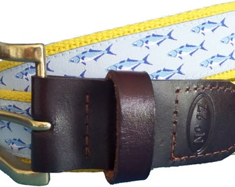 Bluefish Leather Belt / Leather Belt / Nautical Belt / Preppy Webbing Belt Men, Women and Children/Bluefish Ribbon and Yellow Webbing