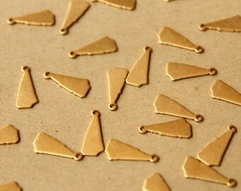 8 pc. Raw Brass New Hampshire State Charms / Blanks: 7mm by 15mm - made in USA | RB-1042