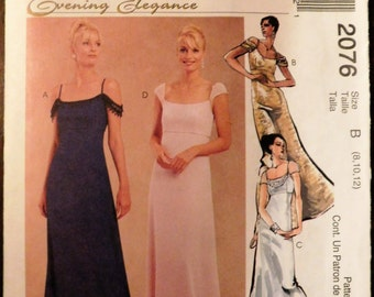 McCall's 2076 Misses' Lined Gowns Dresses Evening Elegance Uncut Complete -  Print 1999