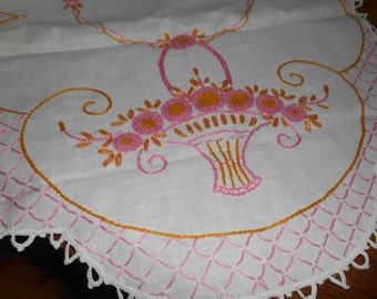 Cotton Runner or Doily with Pink and Gold Embroidery / Crochet Edging