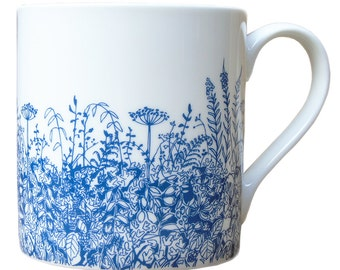 Bone China Blue Hedgerow Mug