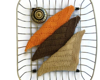 Dishcloths 3 eco friendly hand knitted washing up cloth reusable counter wipe polish cloth