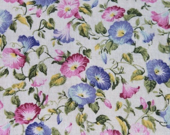 Vintage Morning Glory Cotton Fabric by the yard, Pink Blue Flower Floral, Quilting Sewing Fabric Material BTY Yardage