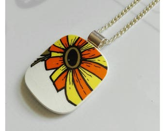 Bright zingy Meakin pendant made from a cup . Knopf designs . Broken china  jewelry.ceramic jewellery