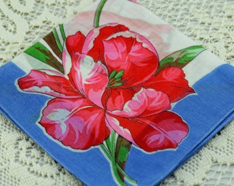 Vintage Hankie HUGE Red and Pink Flower on White and Blue #A-18