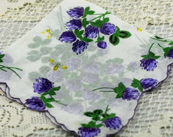 """Vintage Hankie  """"Beautiful Scalloped White with Purple Flowers """"  #F-52"""