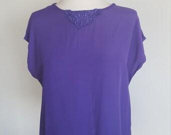 1980's Purple blouse by Cristina/ Secretary tops/ vintage blouses/ rayon/purple people eater/Charlie's Angels/lace blouses/hippie bohemian