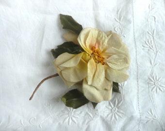 Antique millinery flower - vintage silk flower - antique silk rose - antique millinery rose - silk millinery flower
