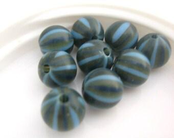 8mm Round Blue Vintage Lucite Beads Green, Navy