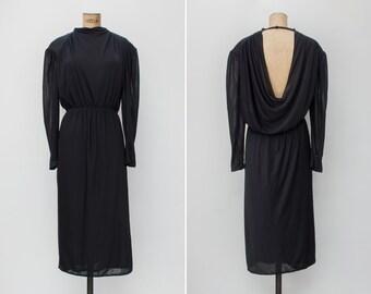 1980s Dress - Vintage 80s Black Cowl Back Dress - Viernes Dress
