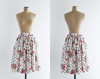 1950s Skirt - Vintage 50s White Cotton Polka Dot Floral Red Black Circle Skirt - Flowers In The Snow Skirt