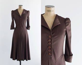 1970s Dark Brown Knee Length Dress - 70s Fashion  - Olga Dress