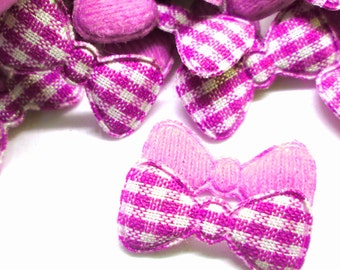 "100pcs x 7/8"" Pink Gingham Cotton Bow Padded/Appliques"
