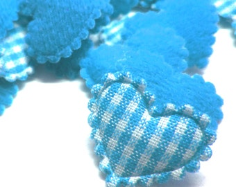 "100pcs x 3/4"" Blue Gingham Cotton Heart Padded/Appliques"