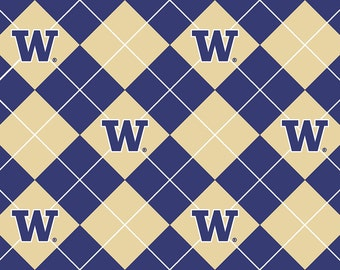 Licensed NCAA University Of Washington Huskies Argyle Fleece Fabric 60'' Wide Sold By The Yard