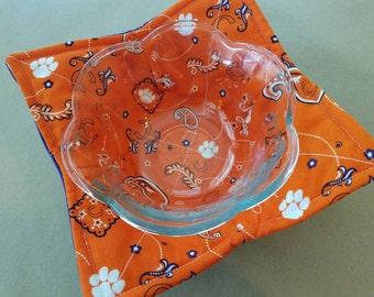 Clemson Tigers Microwave Bowl Cozy, Reversible Microwave Bowl Potholder, Paisley Reversible Bowl Holder, Teacher, Hostess, Housewarming Gift