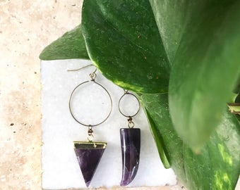 Amethyst earrings, amethyst jewelry , Mother's Day gift, gift for her, triangle jewelry, hoop earrings, spring jewelry, spring fashion