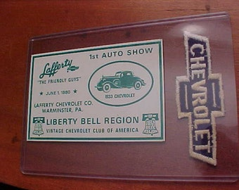 1933 Vintage CHEVROLET PATCH + DASH Plaque Chevy Club of America New Old Stock Condition Rare Car Show Dealership Service Uniform