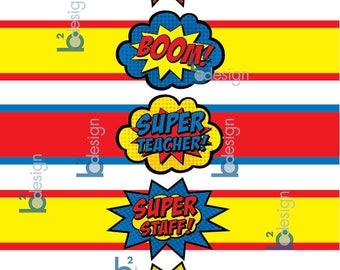 Superhero Teacher Water Bottle Labels • V1 • DB color • INSTANT DOWNLOAD