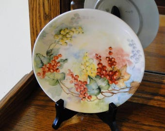 Decorative Tressemanes & Vogt Limoges Plate, Limoges, Collectible Porcelain Red and Yellow Fruit Décor Tray, Ceramic Grapes Wall Art