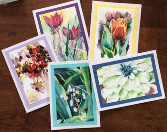 Watercolor notecards spring summer flowers all occasion