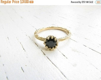 New Year Sale - Solitaire ring black - Onyx ring - Black ring - Jet ring - Jet ring gold - Onyx ring gold - Black diamond ring, (5.5)
