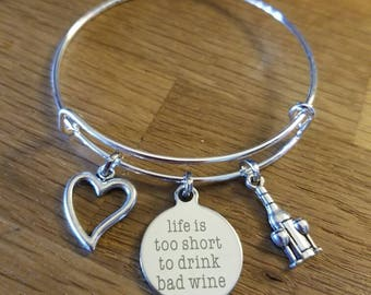 Life is too Short to Drink Bad Wine Themed Silvertone Expandable Charm Bracelet