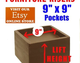 """9"""" x 9"""" Top Pocket Furniture Risers, Bed Lifters - Custom Sizes, All Wood"""