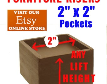 """2"""" x 2"""" Top Pocket Furniture Risers, Bed Lifters"""