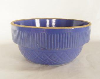 Ruckles Stoneware Bowl Periwinkle 1861 Vintage Quilt Pattern Blue USA