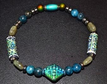 "7"" Weight Loss Natural Kyanite & Apatite Gemstones Stretch Bracelet"