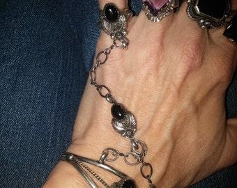 Vintage Black Onyx Slave Bracelet Navajo Native American