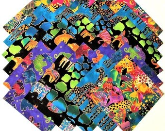 """MYTHICAL JUNGLE from Clothworks - (30) 6.5"""" rotary-cut fabric squares"""