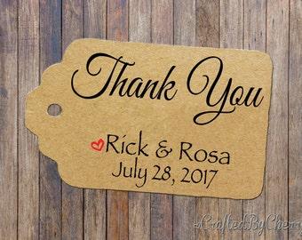 Custom Thank You Wedding Favor Tags - Kraft Cardstock