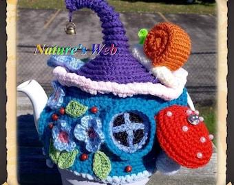 Crochet Fairy House -Gnome House -Teapot Cozy - Fairy Teapot Cozy - Fairy House -Crochet Fairy House - Hobbit House - Hobbit house Tea Cozy