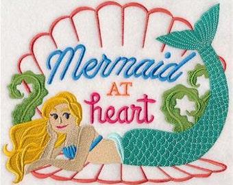 Mermaid at Heart Embroidered Towel | Flour Sack Towel | Linen Towel | Dish Towel | Kitchen Towel | Hand Towel | Beach House Towel