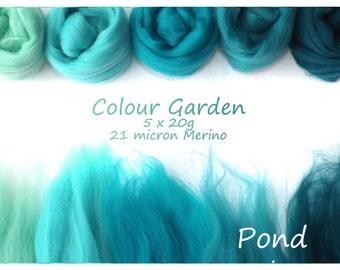 Jade Merino Shade sets - 21 micron Merino wool - 100g - 3.5oz - 5 x 20g - Colour Garden -  POND