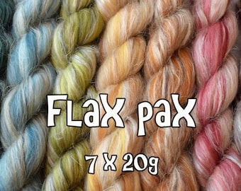 FLAX PAX - Merino Flax blends - Blended roving Sample Pack - 140g / 4.90oz