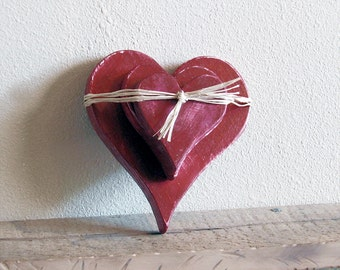 3 Wooden Distressed Chunky Hearts - Rustic Country Hearts