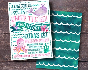 Under the Sea Invitation, Under the Sea Birthday Invitation, Girl's Under the Sea Invitation, Girl's Ocean Invitation, Under the Sea Party