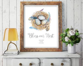 Digital Download - Personalized Family Quote - Family Wall Art - Printable Art - Family Printable Quote - Family Print - Bless Our Nest