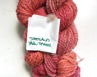 Handspun Hand Dyed Shetland Wool Yarn Chunky Pink 2 Ply 138 Yards 4.5 Oz