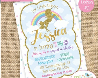 Unicorn Birthday Invitation, Rainbow, Gold Glitter, Printable File, not instant download