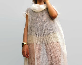 Woman LONG TUNIC Loose Knitted Plus Size Soft Mohair Spring accessories