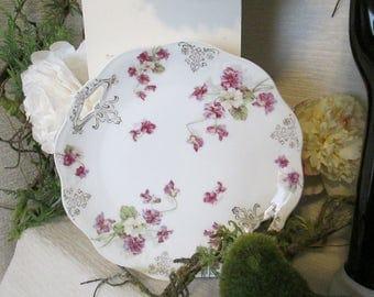 "Vintage MIGNON Bavaria Purple Floral Violet Serving Handled Dinner Plate Scalloped 10""  Cottage Chic TVAT HSH EPSteam WLVteam Farmhouse"